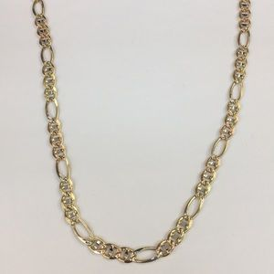 653c63662ab25 14k Tri Color Gold Figaro Gucci Link Necklace